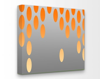 Mid Century Modern Op Art Giclee Gallery Wrapped Canvas Ready To Hang Art Large Loft Art Living Room Orange Grey Gray Nursery Bedroom Decor