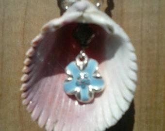 Pale Blue Flower Seashell Pendant Necklace