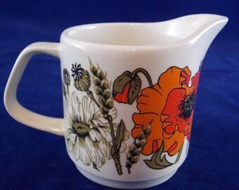 Milk jug with poppy print 1970ties Studio D & G Meakin made in England poppies