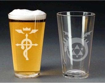 full metal alchemist etch glass - pint glass - beer mug - shot glass