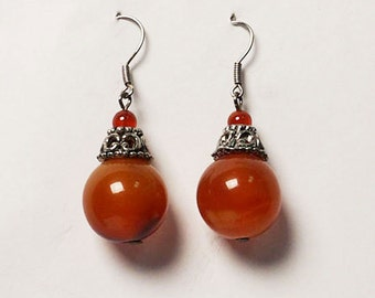 Carnelian Drop Silver Earrings