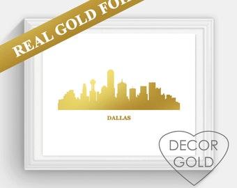 Dallas Skyline REAL gold foil print, gold Christmas gift, holiday sign, Illustration Art Print, Map custom print, gold print, Texas foil art
