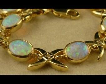 Opal & Diamond Gold Celtic Fabulous Bracelet