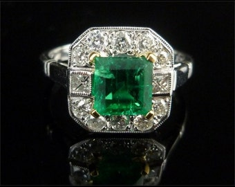 Antique Engagement Ring - Emerald Ring - 1.50CT Natural Emerald & 1CT Old Cut Diamond 18CT Gold Ring