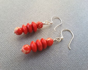 Mixed Red Stacks . Earrings