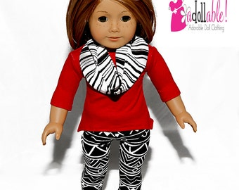 American made Doll Clothes, 18 inch Girl Doll Clothing, Red Sharkbite Top, Graphic Knit Leggings made to fit like American girl doll clothes