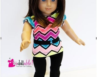 American made Girl Doll Clothes, 18 inch Doll Clothing, Chevron Striped Top, Black Lace Capris made to fit like American girl doll clothes