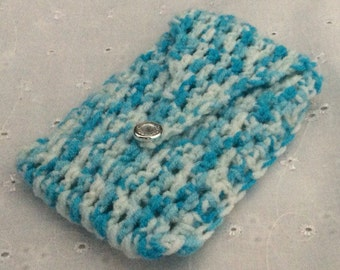 Beautiful handmade coin purse/business card holder in turquoise blue