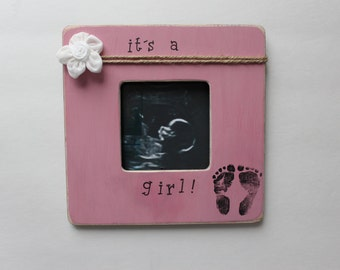 girl ultrasound frame gender reveal its a girl picture frame rose pink photo frame