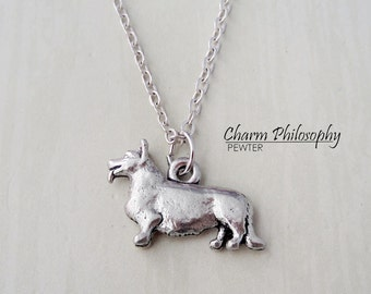 Corgie Necklace - Corgie Dog Charm - Antique Silver Pewter Jewelry