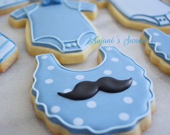 Two Dozen Decorated Sugar Cookies Baby Shower for a Baby Boy