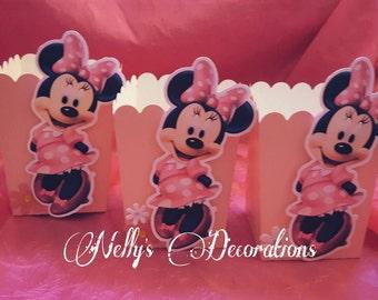 Minnie Mouse Mini Gable Boxes Mini Mouse Favor Boxes Popcorn Boxes Minnie Mouse party favors Set of 12
