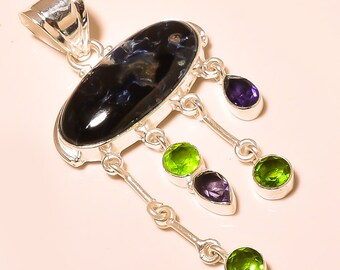 Unusual and very pretty Pietersite with  faceted peridot and amethyst .925 sterling silver Pendant