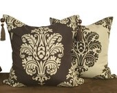 Set of Brown and Beige Ikat Pillow Covers for Sofa or Bed in 16, 18 or 20 Inches