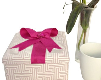 Rose Quartz Fabric Covered Box with Stationery for Birthday Gift, Office Storage or a Gift for Woman