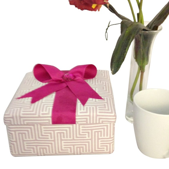Fabric Covered Box in Pink with Stationery for Mother's Day Gift, Office Storage or a Gift for Woman