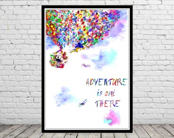 Adventure is out there, watercolor print, Nursery, Kids Room Decor, Up House and Balloons (917b)