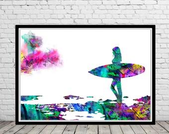 Surfer girl, Surf print, Ocean art,surfboard print, Wave, sealife, watercolor art print, home decor (2187b)