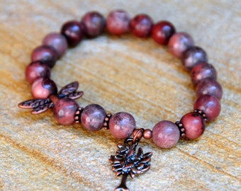 8mm Painted Jasper Beads with Dragonfly and Tree of Life Charm Bead - Custom Fit Bracelet