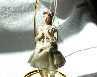 Vintage Doll Christmas Ornament, Victorian Doll Ornament, Victorian Christmas Ornament, Porcelain Bisque Doll Ornament, Olive Ornament
