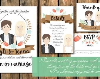 Custom Illustrated Wedding Invitation.
