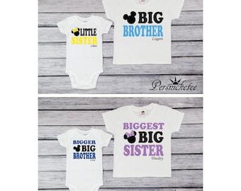 Set of 4 Sibling Shirts; Siblings Disney Shirt Set; Set of 4 Sibling T-shirts; Minnie and Mickey Mouse Inspired Tees; Baby Bodysuits *16188