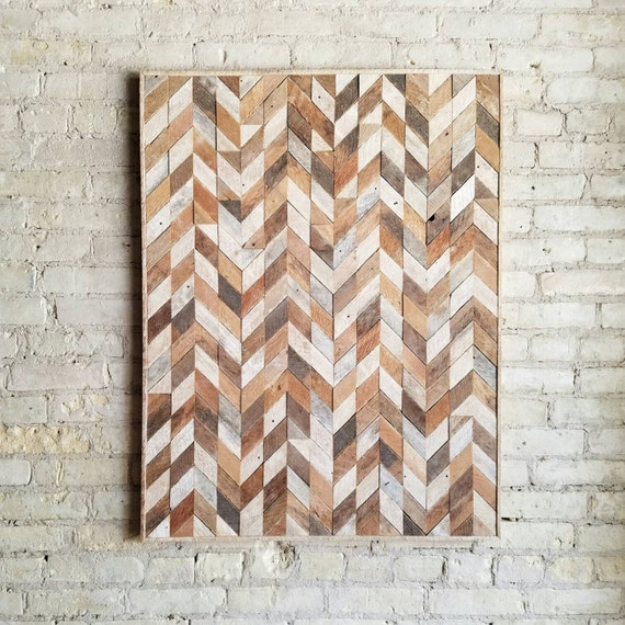 Reclaimed Wood Wall Art, Wood Wall Decor, Abstracted Chevron, 40x30