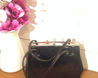 Vintage Black 1960's Kelly Leather Handbag with suede lining