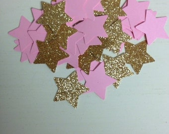 Pink and glittered gold star confetti/twinkle twinkle little star/table scatter/table decor/birthday decor/
