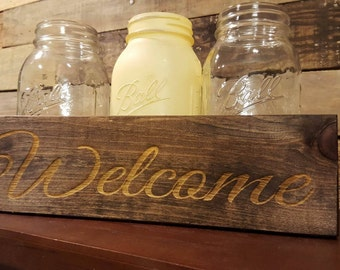 Farmhouse Decor , Rustic Decor,  Table Centerpiece,  Mason Jar Decor, Mason Jar Centerpiece, Welcome
