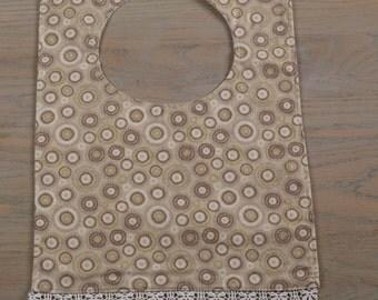 Taupe Vintage Circles//Baby Bib