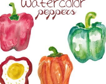 Watercolor Bell Peppers Clipart Commercial Use