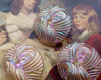 3 big aurora borealis glass buttons - 3 dazzling glass buttons - eye-catcher - old collector / glass buttons - rarely 2.6 cm