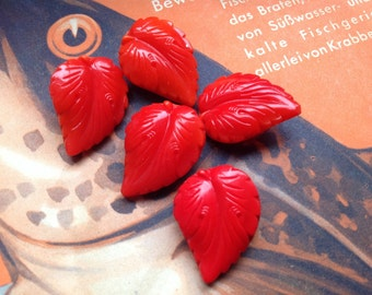 5 expert old red collectors / glass buttons - vine leaves with structure - 3 sizes available
