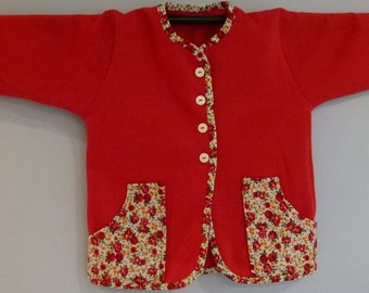 Red jacket with red floral trim pockets - child size 8