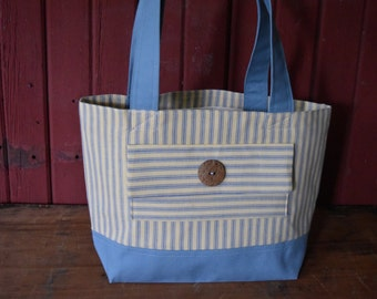 Handmade Tote - Cotton Canvas Tote - Everyday Bag - Handbag - Carry All Bag