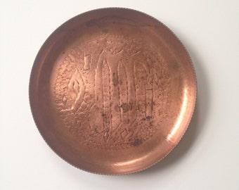 Vintage Etched Copper Dish - Change Dish, Copper Catch-all, Bohemian Decor