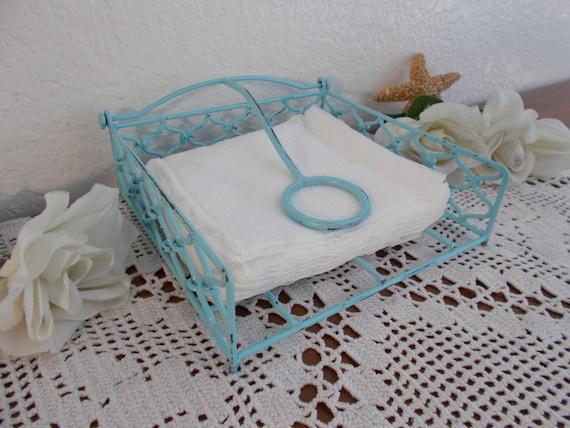 Mint light blue green shabby chic napkin holder kitchen table - Coastal napkin holder ...