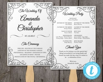 Vintage Wedding Program Fan Template, Fan Wedding Program Template - Instant Download - Edit in Our Web App