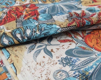 "Floral Printed Pure Cotton Indian Fabric 43"" Wide Fabrics For Sewing Crafting Dress Making Material Decorative Fabric By 1 Yard ZBC4988"