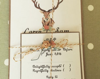 Rustic watercolour floral stag invite and rsvp with twine & flower