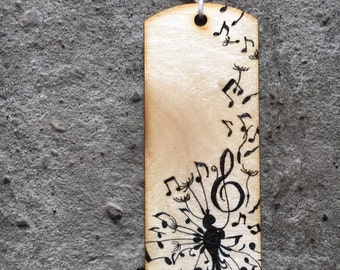 Musical wishes wooden bookmark