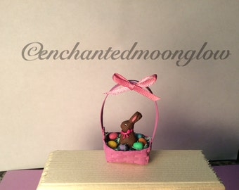 Miniature Easter Basket With Chocolate Bunny