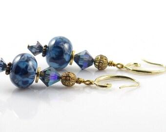 Blue Glass Earrings, Lampwork Earrings, Blue and Gold Earrings