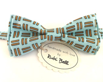 Bow Tie - blue bow tie with geometric pattern - man bow tie - men bow tie - gifts for him