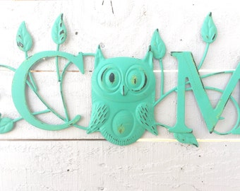 """Iron """"Welcome"""" Sign, Owl Home Decor, For The Home, Front Porch, Wall Art, Customize"""
