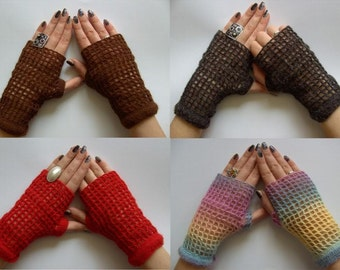 Made to order Hand-knitted mittens from a soft and fluffy mohair