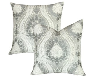 """Decorative Silver, Off White and Grey Throw Pillow 18""""x18',20""""x20"""",22""""x22"""",24""""x24"""" Decor Pillow, Accent Pillow, Lumbar pillow"""