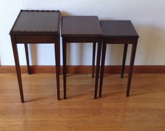 Vintage Mahogany Stack Tables, Wood Stack Tables, Side Tables, TV Tables