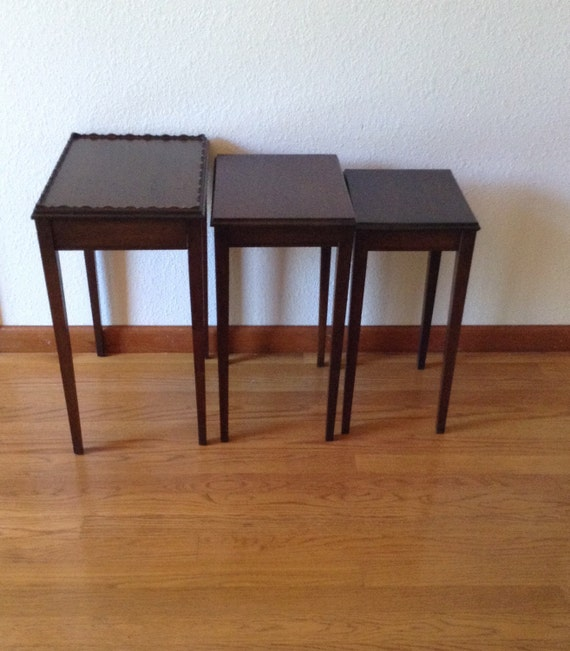 Stacking Tv Tables ~ Vintage mahogany stack tables wood side